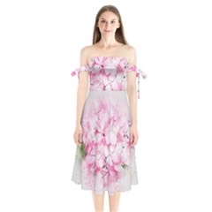 Flower Pink Art Abstract Nature Shoulder Tie Bardot Midi Dress