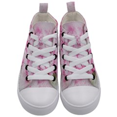 Flower Pink Art Abstract Nature Kid s Mid Top Canvas Sneakers