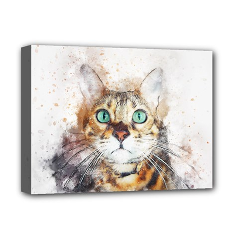 Cat Animal Art Abstract Watercolor Deluxe Canvas 16  X 12