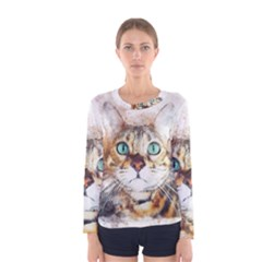 Cat Animal Art Abstract Watercolor Women s Long Sleeve Tee