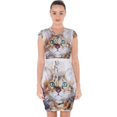 Cat Animal Art Abstract Watercolor Capsleeve Drawstring Dress