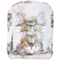 Cat Animal Art Abstract Watercolor Full Print Backpack