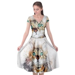 Cat Animal Art Abstract Watercolor Cap Sleeve Wrap Front Dress