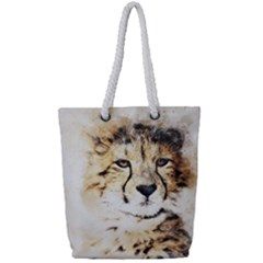 Leopard Animal Art Abstract Full Print Rope Handle Tote (small)