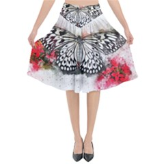Butterfly Animal Insect Art Flared Midi Skirt