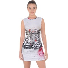 Butterfly Animal Insect Art Lace Up Front Bodycon Dress