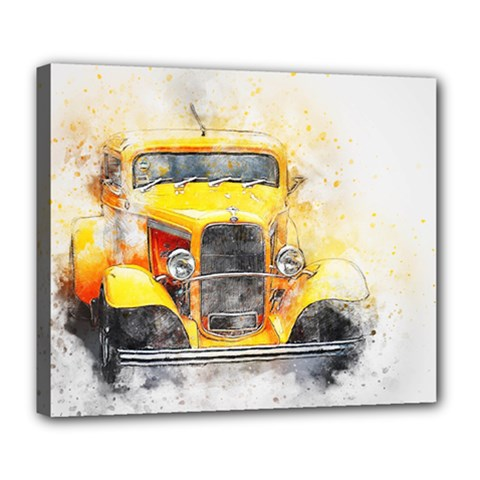Car Old Art Abstract Deluxe Canvas 24  X 20