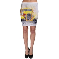 Car Old Art Abstract Bodycon Skirt