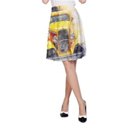 Car Old Art Abstract A Line Skirt