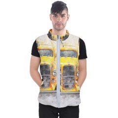 Car Old Art Abstract Men s Puffer Vest