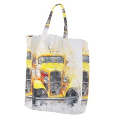 Car Old Art Abstract Giant Grocery Zipper Tote