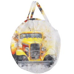 Car Old Art Abstract Giant Round Zipper Tote