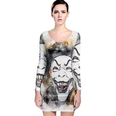 Mask Party Art Abstract Watercolor Long Sleeve Bodycon Dress