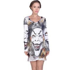 Mask Party Art Abstract Watercolor Long Sleeve Nightdress