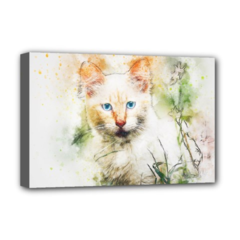 Cat Animal Art Abstract Watercolor Deluxe Canvas 18  X 12