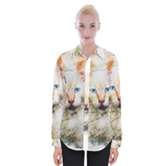 Cat Animal Art Abstract Watercolor Womens Long Sleeve Shirt