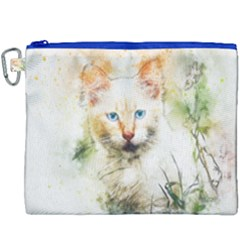Cat Animal Art Abstract Watercolor Canvas Cosmetic Bag (xxxl)