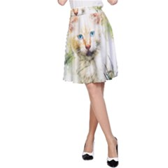Cat Animal Art Abstract Watercolor A Line Skirt
