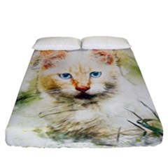 Cat Animal Art Abstract Watercolor Fitted Sheet (california King Size)