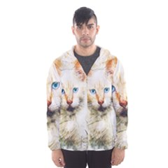 Cat Animal Art Abstract Watercolor Hooded Wind Breaker (men)
