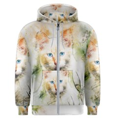 Cat Animal Art Abstract Watercolor Men s Zipper Hoodie