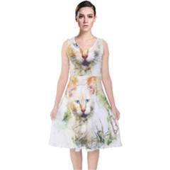 Cat Animal Art Abstract Watercolor V Neck Midi Sleeveless Dress