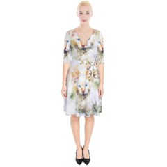 Cat Animal Art Abstract Watercolor Wrap Up Cocktail Dress