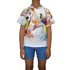 Exotic Birds Of Paradise And Flowers Watercolor Kids  Short Sleeve Swimwear
