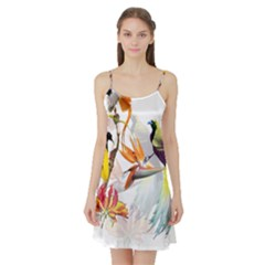Exotic Birds Of Paradise And Flowers Watercolor Satin Night Slip