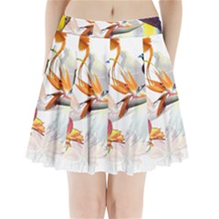 Exotic Birds Of Paradise And Flowers Watercolor Pleated Mini Skirt