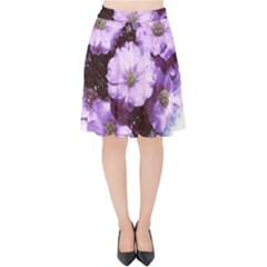 Flowers Purple Nature Art Abstract Velvet High Waist Skirt
