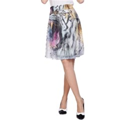 Tiger Roar Animal Art Abstract A Line Skirt
