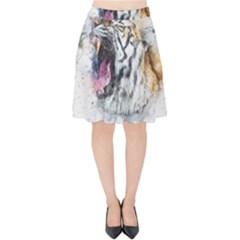 Tiger Roar Animal Art Abstract Velvet High Waist Skirt