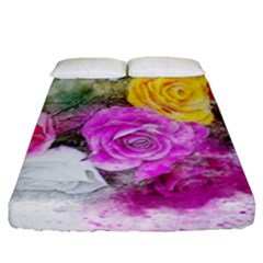 Flowers Bouquet Art Abstract Fitted Sheet (king Size)
