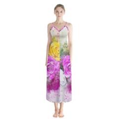 Flowers Bouquet Art Abstract Button Up Chiffon Maxi Dress