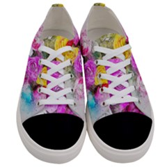 Flowers Bouquet Art Abstract Women s Low Top Canvas Sneakers