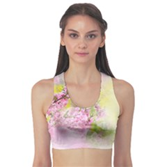 Flowers Pink Art Abstract Nature Sports Bra