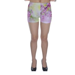 Flowers Pink Art Abstract Nature Skinny Shorts