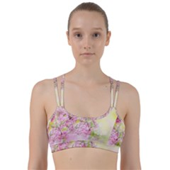 Flowers Pink Art Abstract Nature Line Them Up Sports Bra