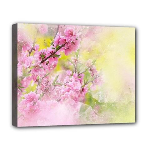 Flowers Pink Art Abstract Nature Deluxe Canvas 20  X 16
