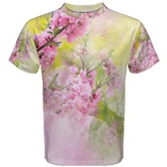 Flowers Pink Art Abstract Nature Men s Cotton Tee
