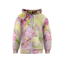 Flowers Pink Art Abstract Nature Kids  Zipper Hoodie