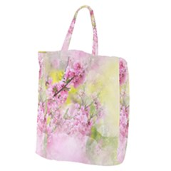 Flowers Pink Art Abstract Nature Giant Grocery Zipper Tote