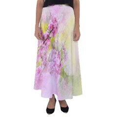Flowers Pink Art Abstract Nature Flared Maxi Skirt