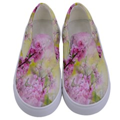 Flowers Pink Art Abstract Nature Kids  Canvas Slip Ons