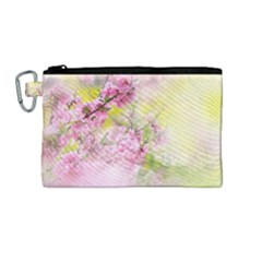 Flowers Pink Art Abstract Nature Canvas Cosmetic Bag (medium)