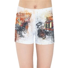 Car Old Car Art Abstract Kids Sports Shorts