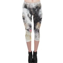 Dog Shetland Pet Art Abstract Capri Leggings