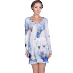 Dog Cats Pet Art Abstract Long Sleeve Nightdress