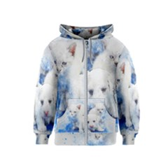 Dog Cats Pet Art Abstract Kids  Zipper Hoodie